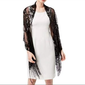 INC Floral Sequined Fringe Wrap Shall Black Lace